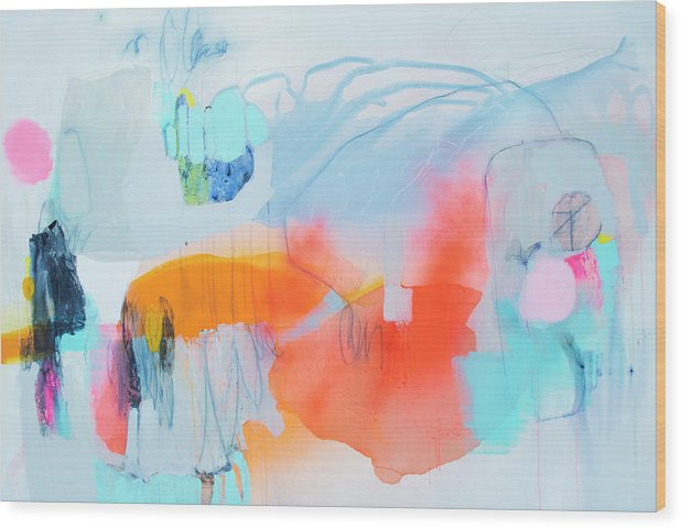 Abstract Wood Print featuring the painting Hold Out by Claire Desjardins