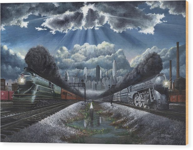 Trains Wood Print featuring the painting The Race by David Mittner