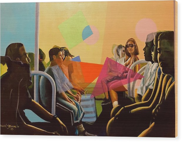 People Wood Print featuring the painting All Aboard by Howard Stroman