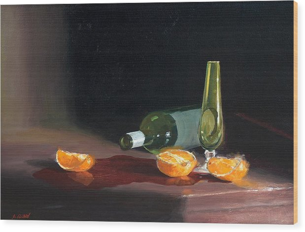 Still Life Wood Print featuring the painting Wine and Oranges by Greg Clibon