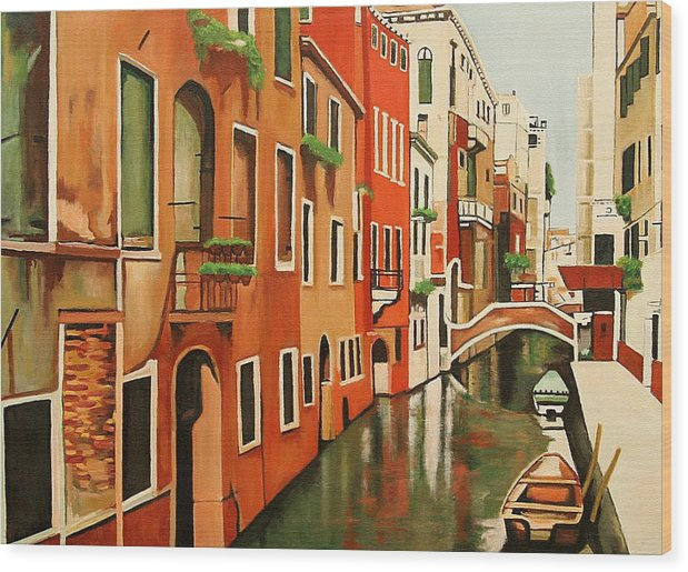 Venice Italy Wood Print featuring the painting Venice In Color by Patrick Hunt