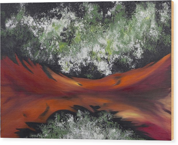 Abstract Wood Print featuring the painting The Conception of Birth by Ara Elena