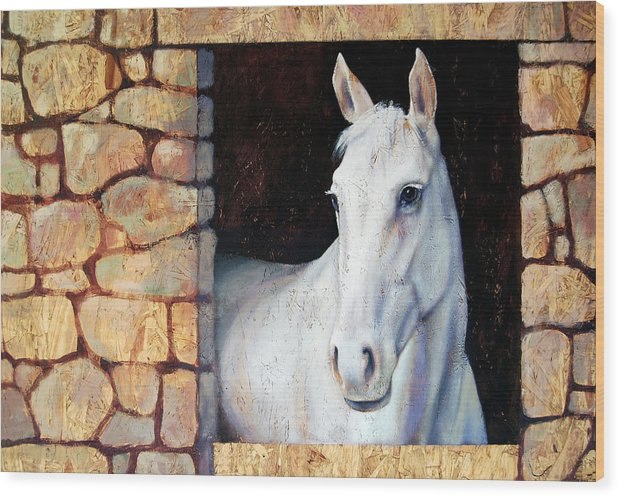 Horse Wood Print featuring the painting White Horse1 by Farhan Abouassali