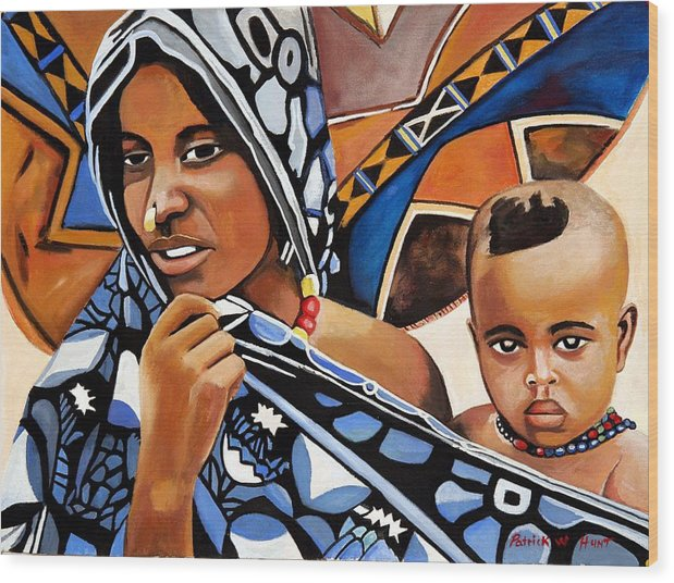African Art Wood Print featuring the painting My One And Only by Patrick Hunt