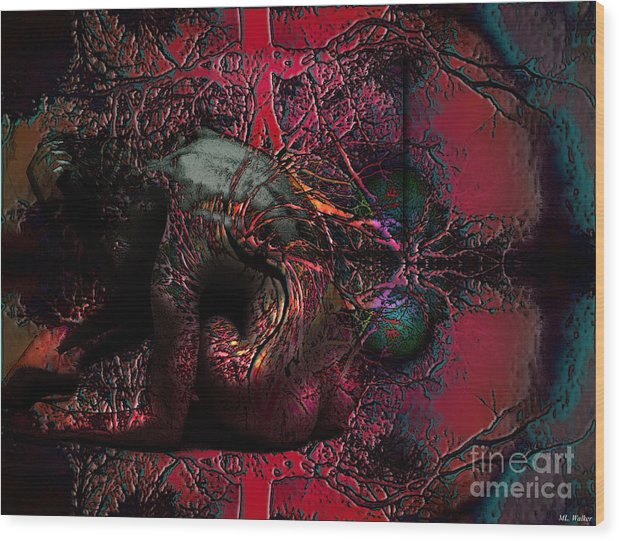 Abstarct Wood Print featuring the mixed media Private Dancer by ML Walker