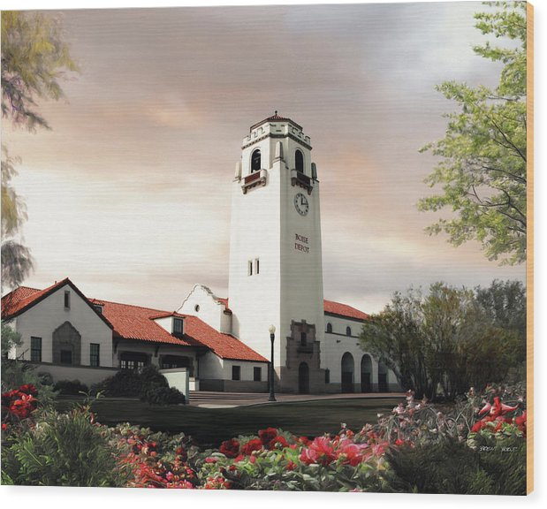 Boise Wood Print featuring the painting Boise Depot by Brent Borup
