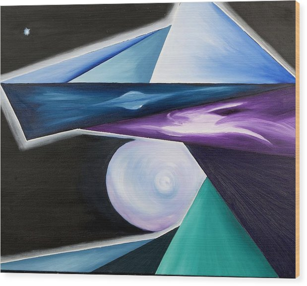 Abstract Wood Print featuring the painting Immense of the Universe by Ara Elena