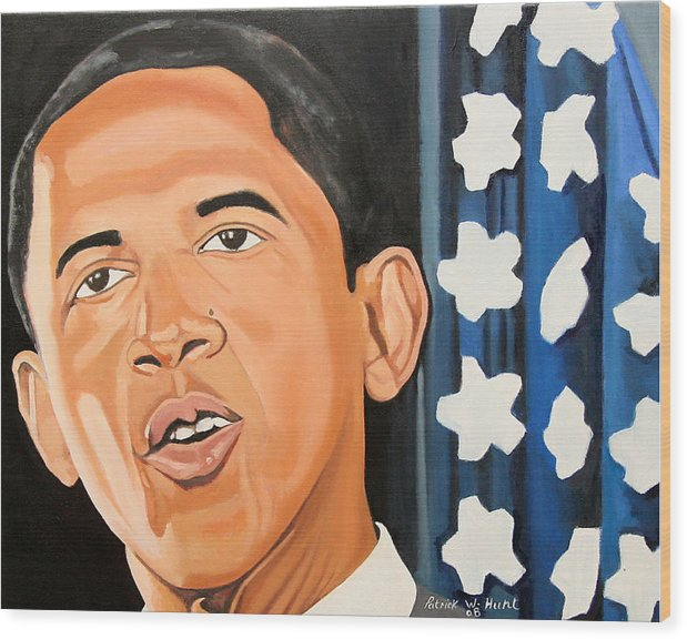 Obama Paintings Wood Print featuring the painting President Elect Obama by Patrick Hunt