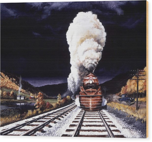 Train Wood Print featuring the painting Racing the Storm by David Mittner