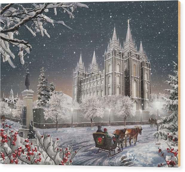 Salt Lake Wood Print featuring the painting Salt Lake Temple - Old Time Christmas by Brent Borup