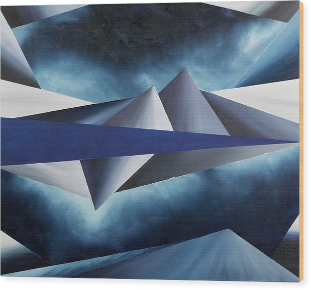 Abstract Geometry Wood Print featuring the painting The Reason of Tranquility by Ara Elena