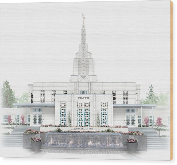 Idaho Falls Wood Print featuring the digital art Idaho Falls Temple - Celestial Series by Brent Borup