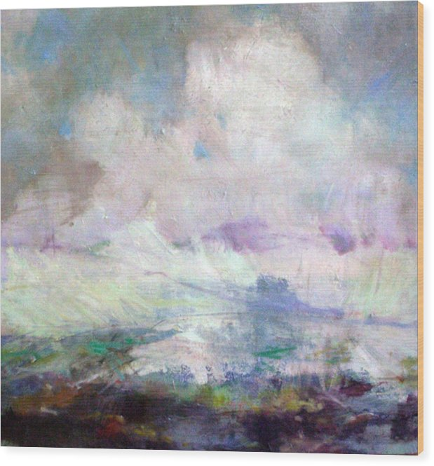 Abstract Wood Print featuring the painting Seascape-Untitled by Marilyn Muller