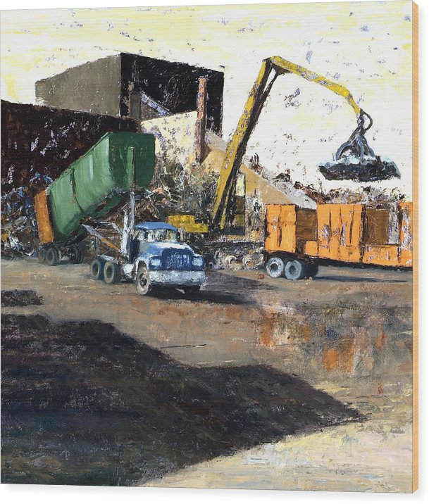 Trucks And Cranes At A Steel And Aluminum Recycling Center Chicago Industrial Corridor Wood Print featuring the painting The Blue Truck by Nancy Albrecht