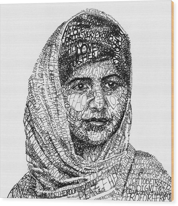 Girl Wood Print featuring the drawing Malala Yousafzai by Michael Volpicelli