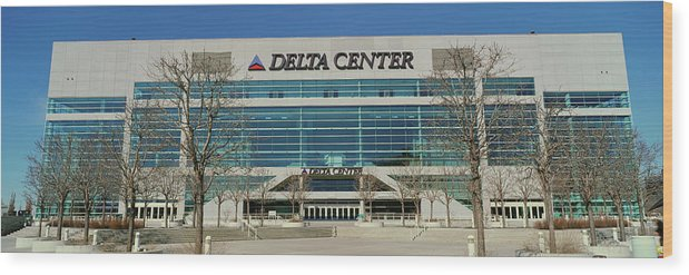 Photography Wood Print featuring the photograph Panoramic Of Delta Center Building by Panoramic Images