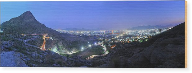 Scenics Wood Print featuring the photograph Blue Hour Ajmer City Panorama by Nimit Nigam