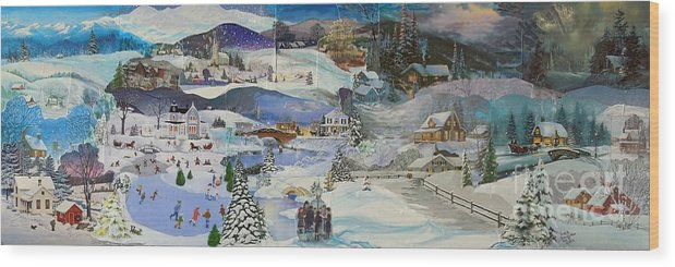 Landscape Wood Print featuring the mixed media Purple Twilight on Snow- SOLD by Judith Espinoza