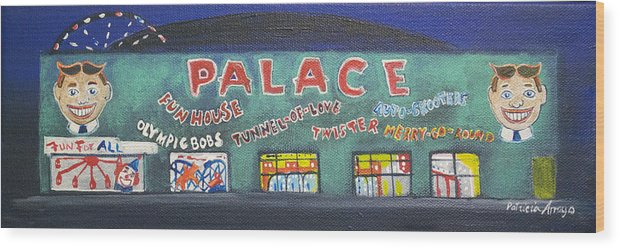 Tillie Of Asbury Park Wood Print featuring the painting The Tiny Tiny Palace by Patricia Arroyo