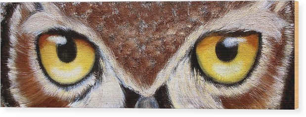Owl Wood Print featuring the painting Whos Watching Who by Darlene Green
