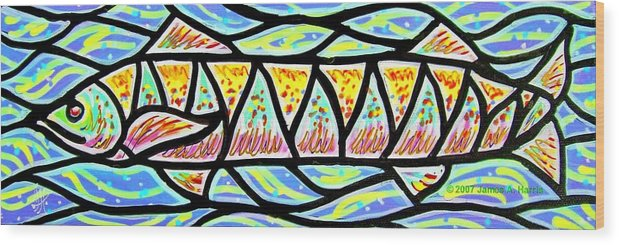 Fish Wood Print featuring the painting Colorful Longfish by Jim Harris