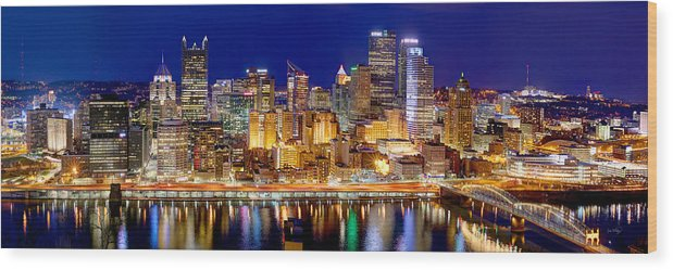 A springtime panorama of Pittsburgh on the North Shore 12x24 Vivid Metal Print