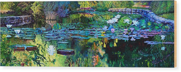 Water Lilies Wood Print featuring the painting The Abstraction of Beauty one and two by John Lautermilch