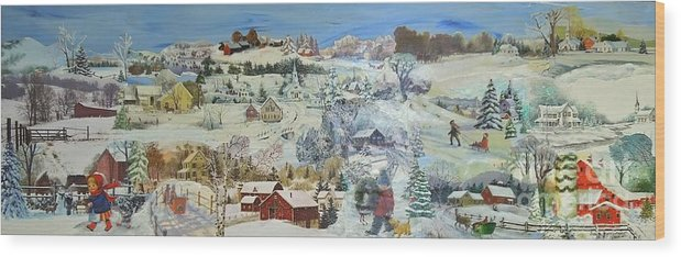 Landscape Wood Print featuring the painting Winter Goose - SOLD by Judith Espinoza
