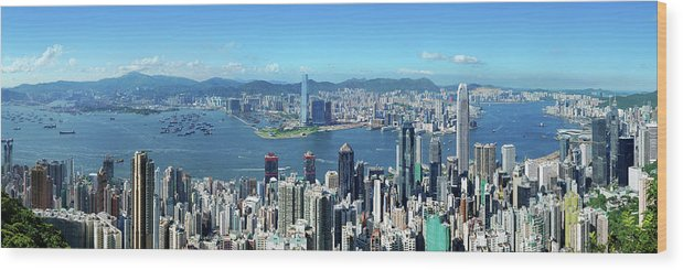 Corporate Business Wood Print featuring the photograph Hong Kong Victoria Harbor At Day by Samxmeg