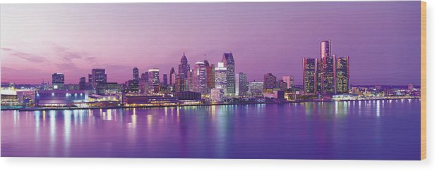 Dawn Wood Print featuring the photograph Detroit Under Purple Sky by Jeremy Woodhouse