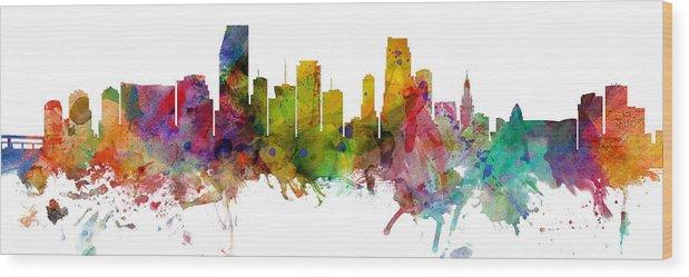 Miami Wood Print featuring the digital art Miami Florida Skyline Panoramic by Michael Tompsett