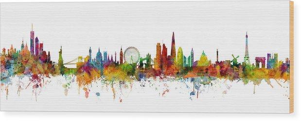 Paris Wood Print featuring the digital art New York, London, Paris Skyline Mashup by Michael Tompsett