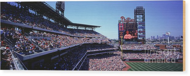 Panoramic Wood Print featuring the photograph New York Mets V Philadelphia Phillies by Jerry Driendl