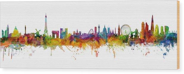 Paris Wood Print featuring the digital art Paris and London Skylines mashup by Michael Tompsett