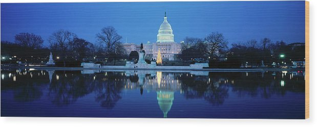 Scenics Wood Print featuring the photograph Us Capitol And Christmas Tree by Walter Bibikow