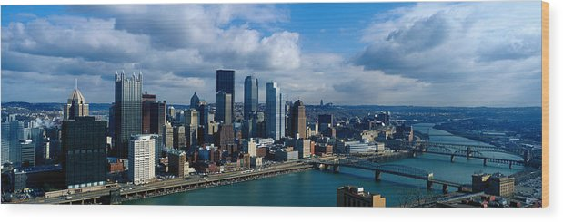 Panoramic Wood Print featuring the photograph Usa, Pennsylvania, Pittsburgh, Skyline by Jeremy Woodhouse