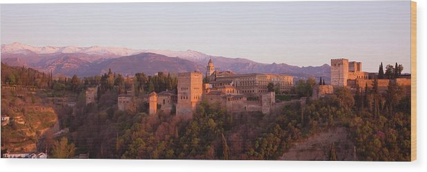 Scenics Wood Print featuring the photograph View To The Alhambra At Sunset by David C Tomlinson