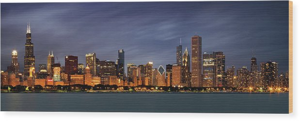 3scape Wood Print featuring the photograph Chicago Skyline at Night Color Panoramic by Adam Romanowicz