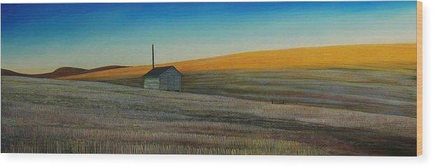 Wheat Wood Print featuring the painting Cold Field At Dusk by Leonard Heid