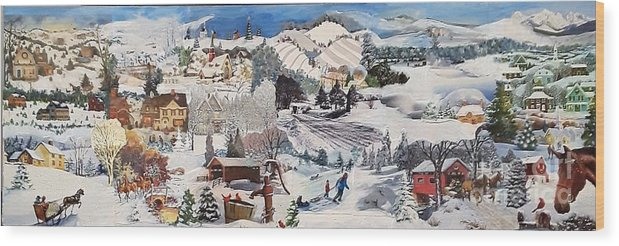 Snow Wood Print featuring the mixed media Winter Sparkle - SOLD by Judith Espinoza