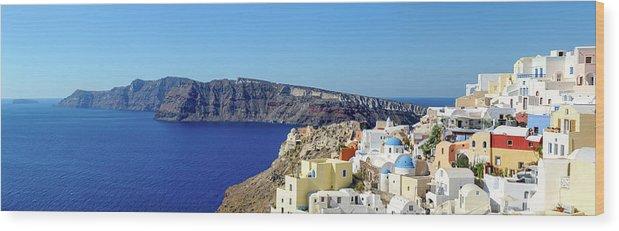 Scenics Wood Print featuring the photograph Oia Panoramic, Santorini, Greece by Chrishepburn