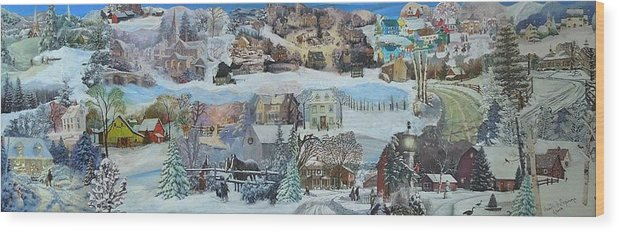 Snow Wood Print featuring the mixed media Winter Repose - SOLD by Judith Espinoza