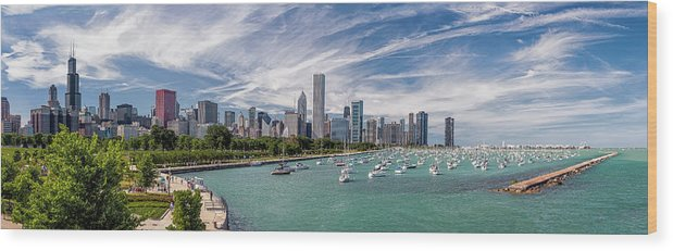 3scape Wood Print featuring the photograph Chicago Skyline Daytime Panoramic by Adam Romanowicz