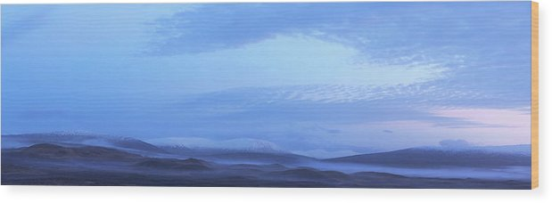 Tranquility Wood Print featuring the photograph Snow Covered Hills And Mist At Dawn by Jeremy Walker