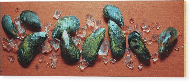 Cooking Wood Print featuring the photograph A Cluster Of Mussels by Romulo Yanes