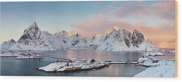 Tranquility Wood Print featuring the photograph Lofoten Islands Winter Panorama by Esen Tunar Photography