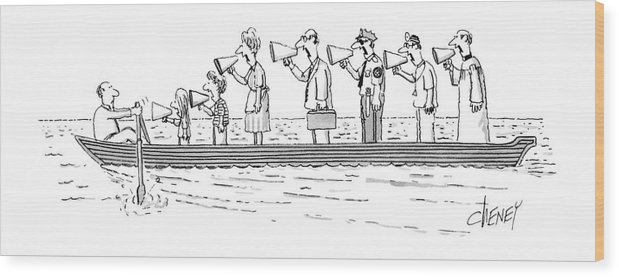 Man Rowing While His Family Wood Print featuring the drawing New Yorker October 10th, 1983 by Tom Cheney