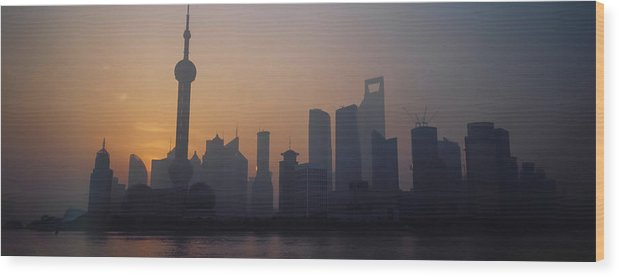 Tranquility Wood Print featuring the photograph Shanghai In Early Morning by Xijia Cao