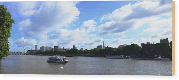 Cruise 2013 Wood Print featuring the photograph Thames with Blue Sky and Puffy Clouds by Richard Henne
