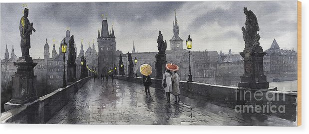 Prague Wood Print featuring the painting BW Prague Charles Bridge 05 by Yuriy Shevchuk